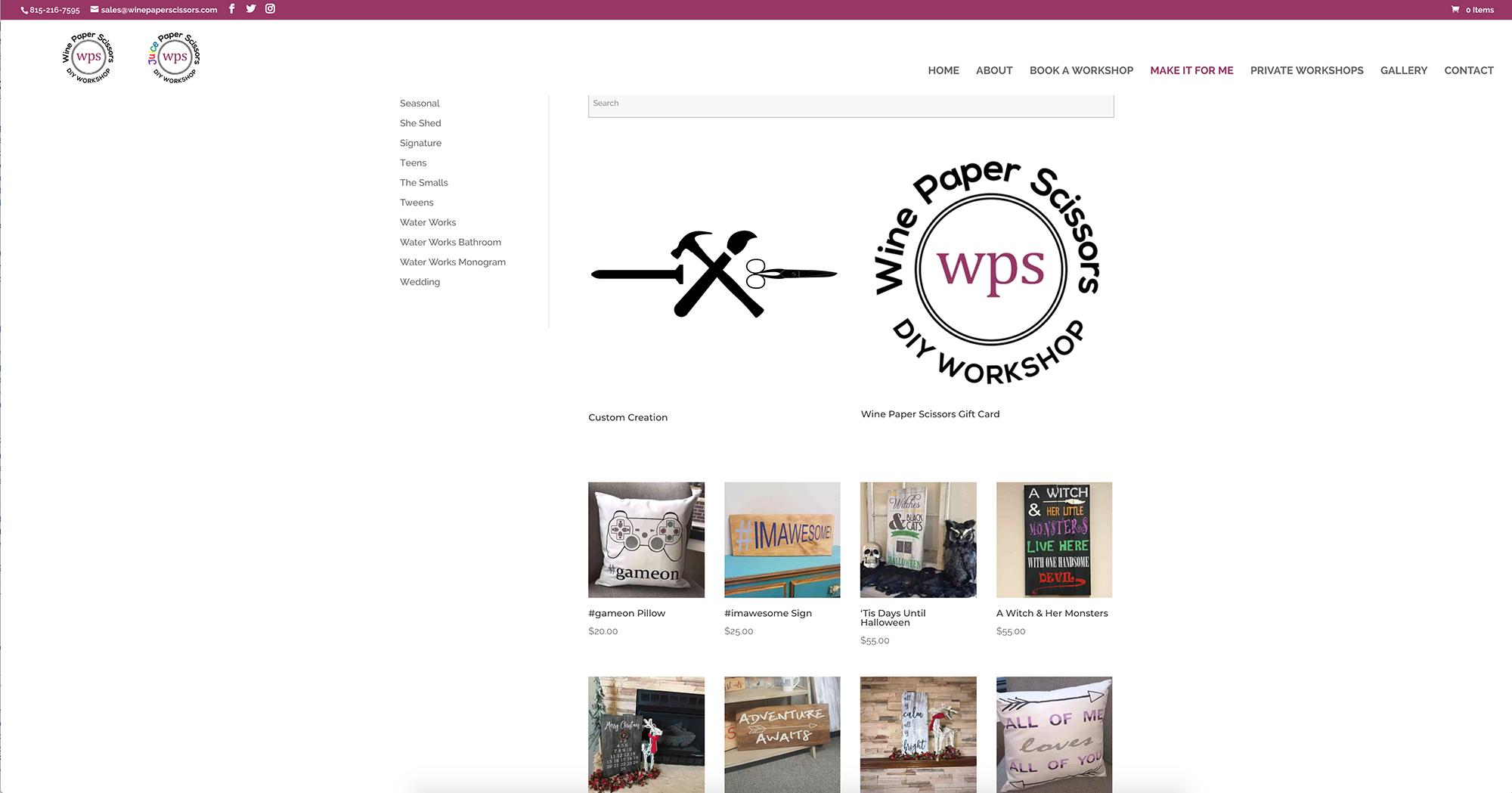 Wine Paper Scissors Make It For Me website