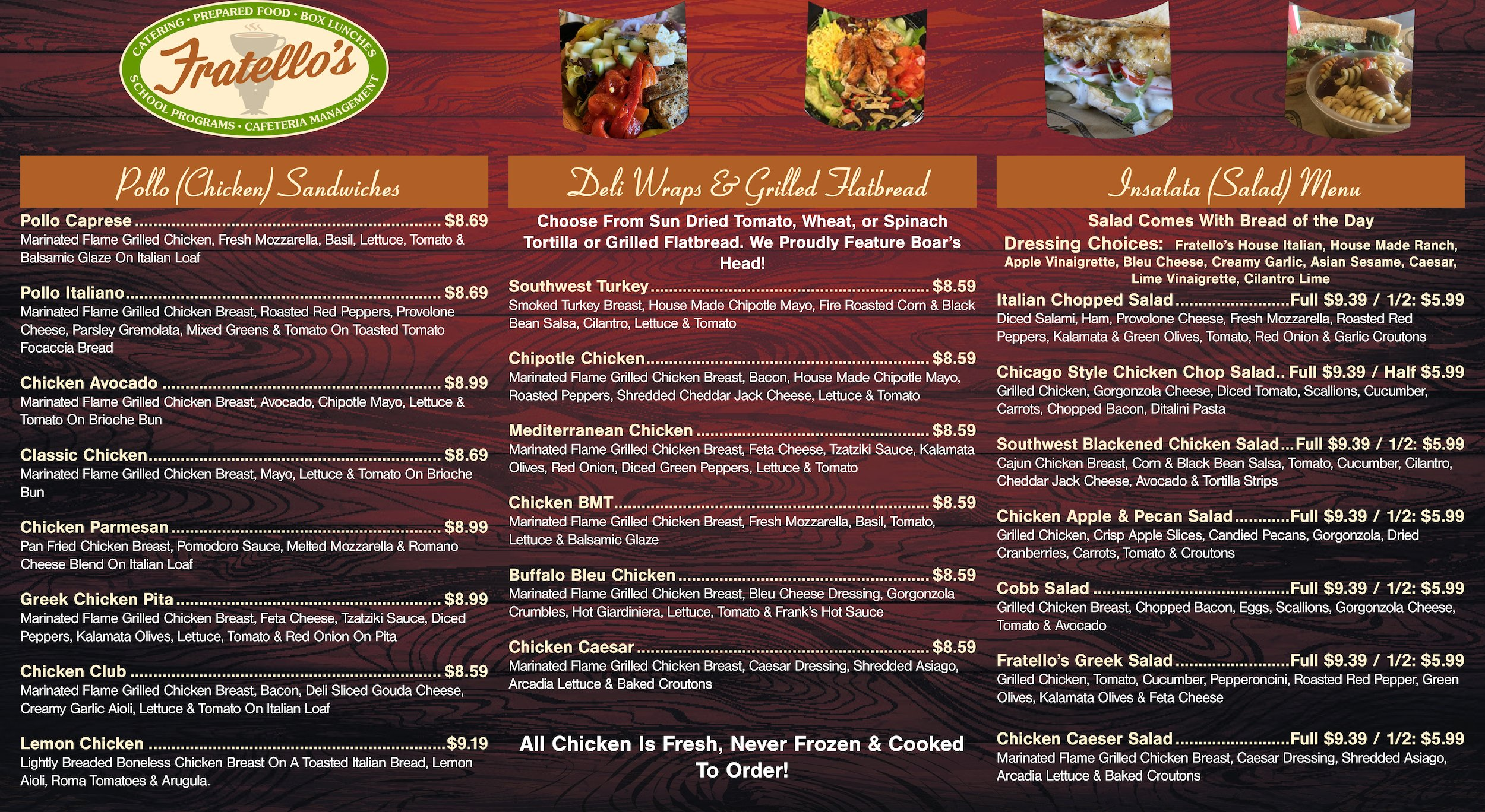 Fratello's Catering Menu Pg1